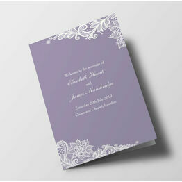 Romantic Lace Wedding Order of Service Booklet