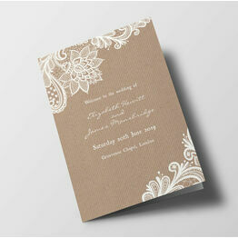 Rustic Lace Wedding Order of Service Booklet