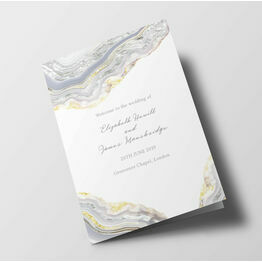 Silver Geodes Wedding Order of Service Booklet
