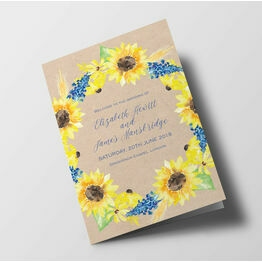 Rustic Sunflower Wedding Order of Service Booklet