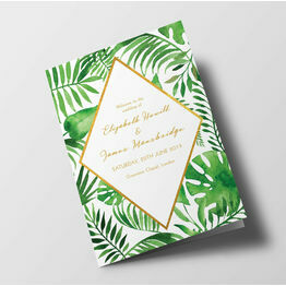 Tropical Leaves Wedding Order of Service Booklet