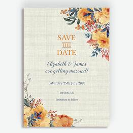 Autumn Orange Floral Wedding Save the Date