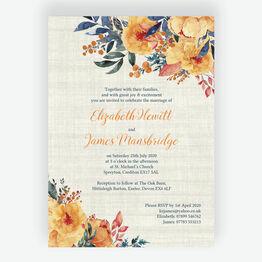 Autumn Orange Floral Wedding Invitation