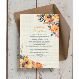 Autumn Orange Floral Evening Reception Invitation