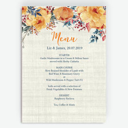 Autumn Orange Floral Menu