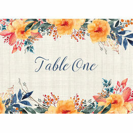 Autumn Orange Floral Table Name