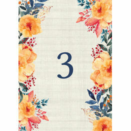 Autumn Orange Floral Table Number