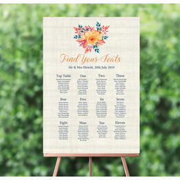 Autumn Orange Floral Wedding Seating Plan