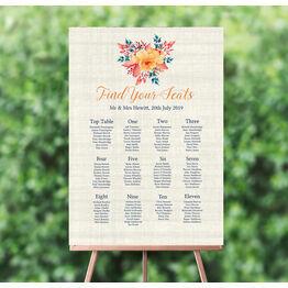 Autumn Orange Floral Wedding Seating Plan
