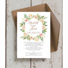 Blush Pink Flowers Wedding Invitation