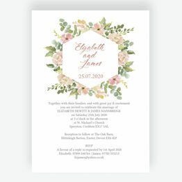 Blush Pink Flowers Wedding Invitation