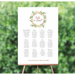 Blush Pink Flowers Wedding Seating Plan