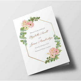 Blush Pink Flowers Wedding Order of Service Booklet