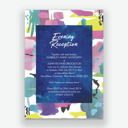 Bright Watercolour Evening Reception Invitation