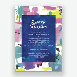 Bright Watercolour Evening Reception Invitation