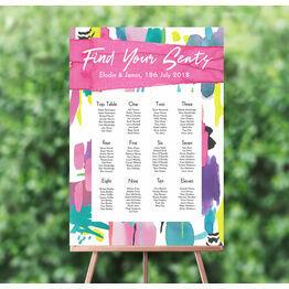 Bright Watercolour Wedding Seating Plan