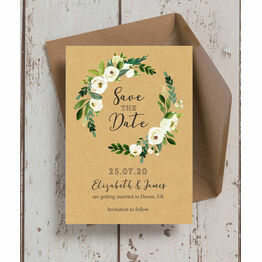 Cream Flowers Wedding Save the Date