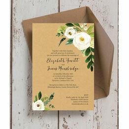 Cream Flowers Wedding Invitation
