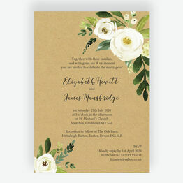 Cream Flowers Wedding Invitation