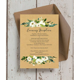 Cream Flowers Evening Reception Invitation