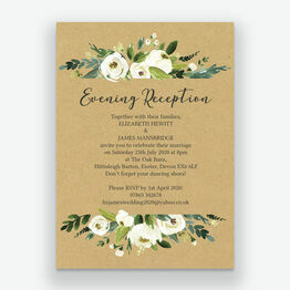 Cream Flowers Evening Reception Invitation