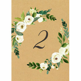 Cream Flowers Table Number