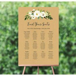 Cream Flowers Wedding Seating Plan
