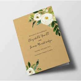 Cream Flowers Wedding Order of Service Booklet