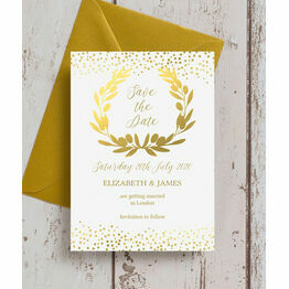Golden Olive Wreath Wedding Save the Date