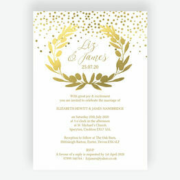 Golden Olive Wreath Wedding Invitation