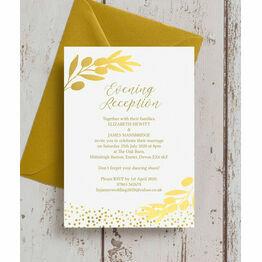 Golden Olive Wreath Evening Reception Invitation
