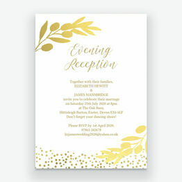 Golden Olive Wreath Evening Reception Invitation