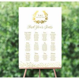Golden Olive Wreath Wedding Seating Plan