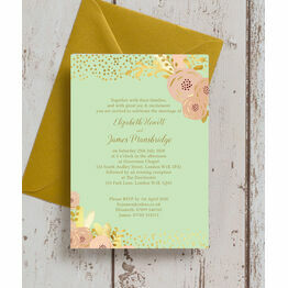 Mint, Blush & Gold Wedding Invitation