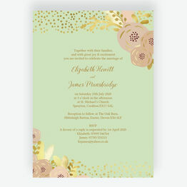Mint, Blush & Gold Wedding Invitation
