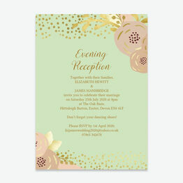 Mint, Blush & Gold Evening Reception Invitation