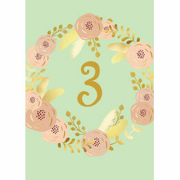 Mint, Blush & Gold Table Number