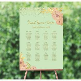 Mint, Blush & Gold Wedding Seating Plan
