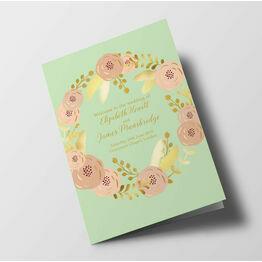 Mint, Blush & Gold Wedding Order of Service Booklet