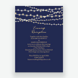 Navy & Gold Fairy Lights Evening Reception Invitation