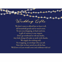 Navy & Gold Fairy Lights Gift Wish Card