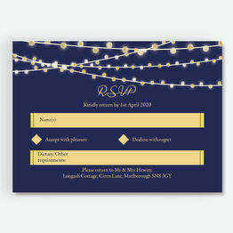 Navy & Gold Fairy Lights RSVP