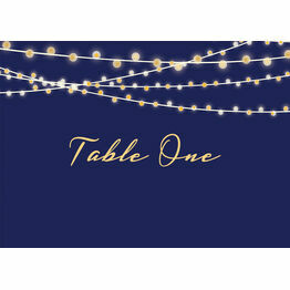 Navy & Gold Fairy Lights Table Name