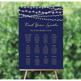 Navy & Gold Fairy Lights Wedding Seating Plan