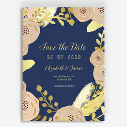 Navy, Blush & Gold Wedding Save the Date