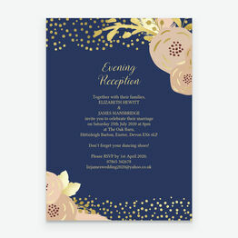 Navy, Blush & Gold Evening Reception Invitation