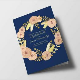 Navy, Blush & Gold Wedding Order of Service Booklet