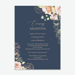 Navy, Blush & Rose Gold Floral Evening Reception Invitation