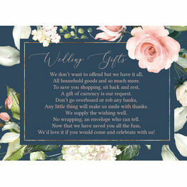 Navy, Blush & Rose Gold Floral Gift Wish Card