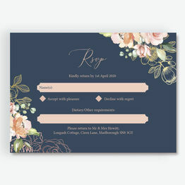 Navy, Blush & Rose Gold Floral RSVP